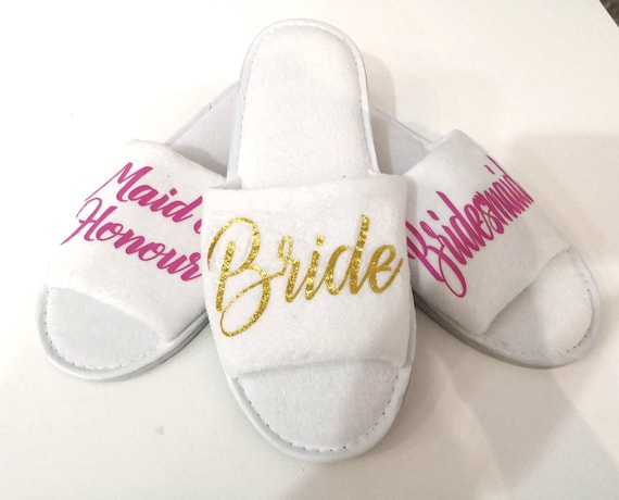 Personalised Wedding Gifts Uk: Personalised Wedding Slippers Bridal Party Gifts Spa