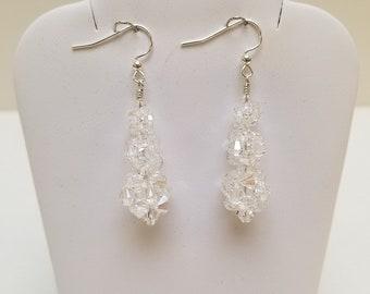 Swarovski Crystal Rock Candy Earrings in Crystal Moonlight with Sterling Silver findings