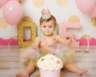Twinkle Twinkle Birthday Party Crown with Little Star | Baby Girl Cake Smash Photo Prop | First Birthday Hat | Pale Gold + Pink + Mint ONE