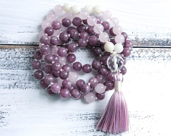 Knotted Mala Beads 108, Lepidolite Moonstone Rose Quartz Mala Necklace, Yoga Jewelry, Tassel Necklace Boho Jewelry