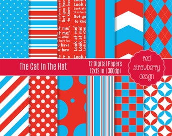 75% OFF Sale - The Cat In The Hat - 12 Digital Papers - Instant Download - JPG 12x12 (DP158)