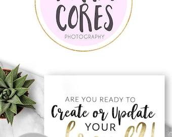 224 - Vera Cores, LOGO Premade Logo Design, Branding, Blog Header, Blog Title, Business, Boutique, Custom, Modern, Pink, Black