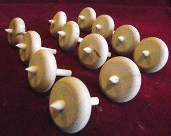 12 Little Spinning Tops, Unfinished Hardwood