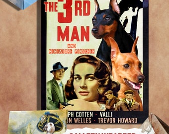 Miniature Pinscher Vintage Poster Canvas Print - The Third Man Movie Poster  Perfect DOG LOVER GIFT Gift for Her Gift for Him Home Decor