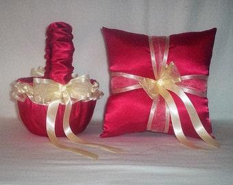 Red Satin With Dark Ivory Cream Ribbon Trim Flower Girl Basket And Ring Bearer Pillow Set 2