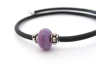 Sterling Silver Wrap Bracelet Purple Lampwork Glass Spring Easter Colors Minimal Memory Wire