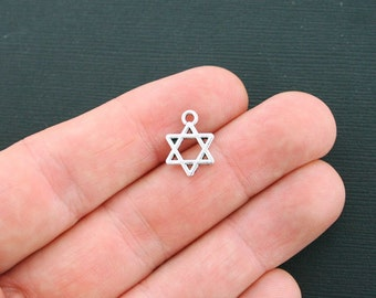 10 Star of David Charms Antique Silver Tone 2 Sided - SC613
