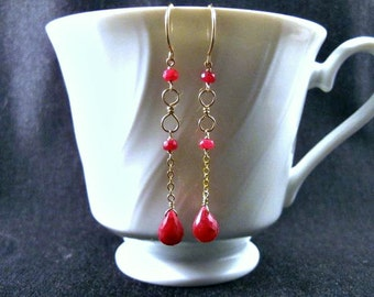 Ruby Infinity Earrings- Gold Filled, Hammered Wire