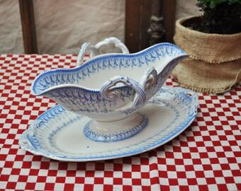 Antique French gravy boat white and blue transferware friezes / vintage sauce boat / Elegant French decor / CREIL ET MONTEREAU