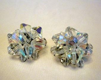 Aurora Borealis Cluster Earrings, 1950s AB Clip On Earrings, Vintage Crystal Jewelry