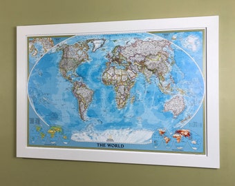Framed World Classic Color Push Pin Travel Map Free Shipping