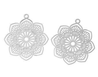 Filigree boho flower pendant stainless steel hypoallergenic charms 2pcs
