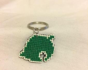 Animal Crossing, Leaf, Keychain, Cross Stitch