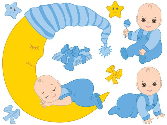 baby boy clipart digital vector baby boy blue infant newborn rh etsystudio com