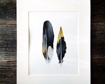 Watercolor Thrush, and Woodpecker Feathers Print