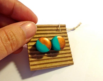 Color Studs,Ear Dots, Earrings,Studs,Painted little Wood Dots,Colorful Patterns