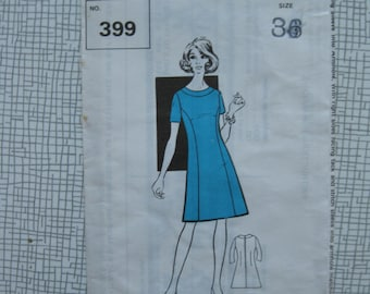 """1960s Dress - 36"""" Bust - The Sunday Pattern People 399 - Sewing Pattern - Vintage Retro"""