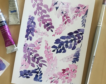 Watercolor flowers, Wisteria Watercolor Painting, Original Painting, Purple Flowers, Watercolor Wisteria, abstract floral, original art