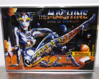 1991 Original William Pinball The Machine The Bride Of Pinbot Framed Silkscreened Backglass Artwork