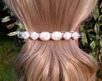Cream and Gray/Green Soapstone Beaded Hair Clip