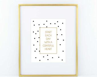 Grateful Heart Print- Black and Gold
