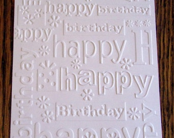 HAPPY BIRTHDAY Embossed Card Stock Panels Perfect for Scrapbooking and Card Making - Set of 12