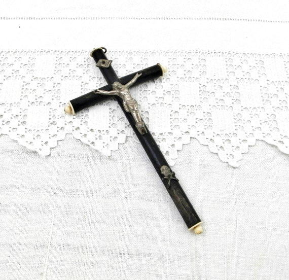 Antique French Catholic Wall Hanging Crucifix made of Ebonized Wood Bone with Silver Plated Figure of Jesus, Mounted Christian Cross France
