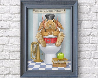 Rabbit bathroom wall decor, privacy funny print, bunny illustration, Natalprint.