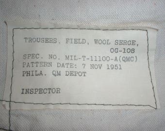 US Army M-51, M-1951 wool serge trousers, dated 1951, Long-Large