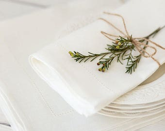 Spring wedding napkin cloth set of 30, Easter napkins, Hemstitch linen napkins, Rustic wedding table decor, Mother day gift