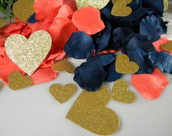 Navy Blue, Coral and Gold Wedding Decoration   Silk Rose Petals & Glitter Gold Hearts    Table Scatter