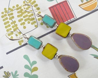 Teal, Chartreuse and Lavender Boho Earrings (4096)