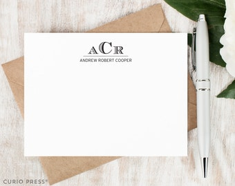 Personalized Stationery Set / Flat Personalized Stationary Note Cards / Professional Masculine Thank You // ENGRAVED MONOGRAM