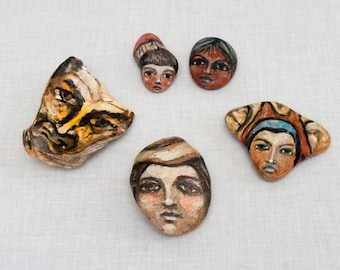 Five Hand Painted Rocks Faces - One Of A Kind - Vintage 1980s - Decorative Stones