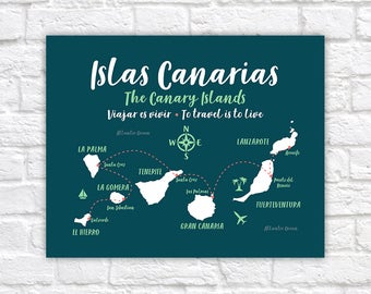 Canary Islands Map, Tenerife, Gran Canaria, Santa Cruz, La Palma, Spain Islands, Islas Canarias, Travel Poster Map Wedding Canary | WF573