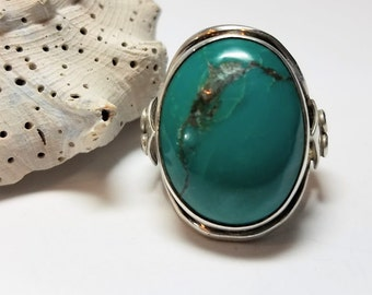Arizona Turquoise, Rich Blue/Green Coloring .925 SterlingSilver, Unique Oval Design Statement Ring, Size 5 3/4 #134