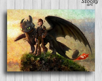 Hiccup and Toothless poster how to train your dragon print night fury art