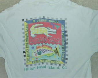 Vintage 90s Hilton Head Island Alligator Grille Tee Large