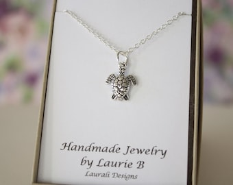 Turtle Charm Necklace, Friendship Gift, Sterling Silver, Bestie Gift, Sea Turtle Charm, Thank you card, Nature, Sea Life, Ocean
