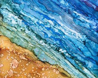 She Sells Sea Shells- Alcohol Ink on Tile