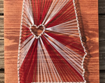 University of Alabama state string art, roll tide state string art, crimson tide state string art, alabama state art, ci