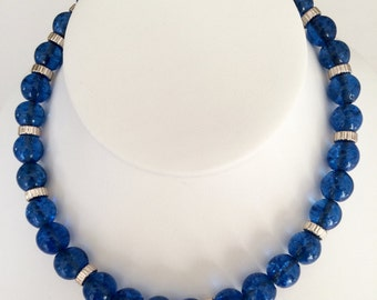 Blue Glass with Sterling Bead Necklace