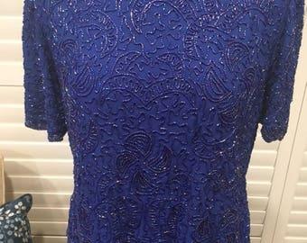 Cobalt Blue Mother of the Bride Dress Sz 10 Sequin Top Tea Length Short Sleeve