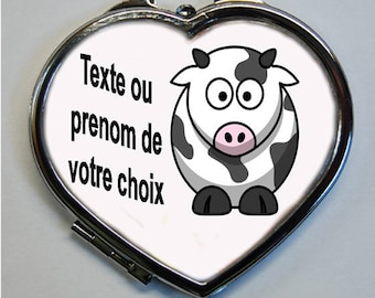 Heart shape mirror cow with the name or Word of your choice