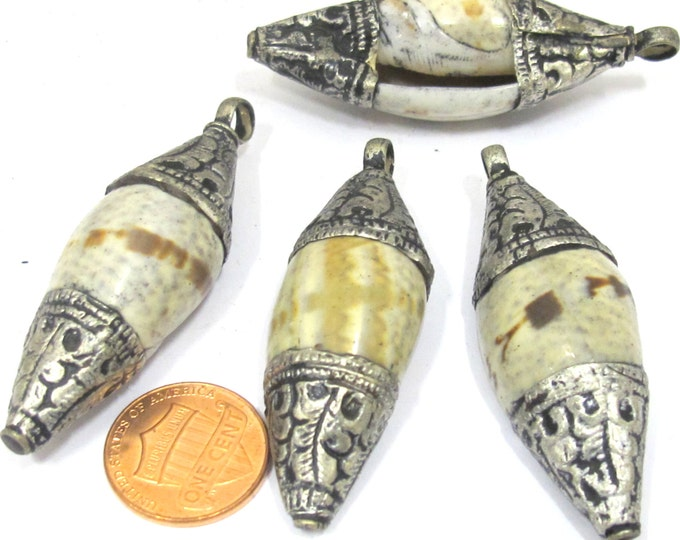 2 Pendants - Ethnic Tibetan silver repousse carved cap bail shell  pendant from Nepal - SP045s