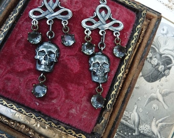 Vintage Antique Memento Mori Skull Earrings, Talismans for the Alchemist, by RusticGypsyCreations