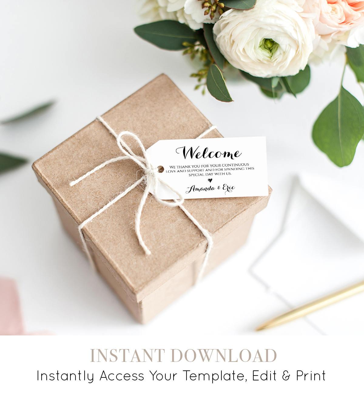 Wedding Welcome Tag Printable, Welcome Bag, Custom Wedding Favor Tag ...