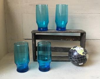 Glass Tumbler Set   Vintage Turquoise Blue Glassware   Highball Glasses   Mid Century Set of 4 Drinking Glasses   Mad Men Barware