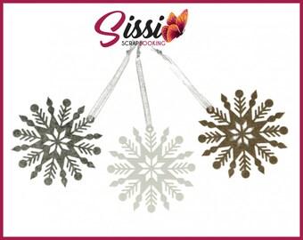 EMBELLISHMENTS in felt Christmas artemio bead x 3 10 glitter snowflakes