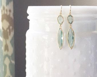 MAXWELL | Sea Green Stone Earrings | Sea Green + Gold Stone Dangle Earrings | Aqua Bridesmaid Earrings | Sea Green Earrings | Gold Marquise